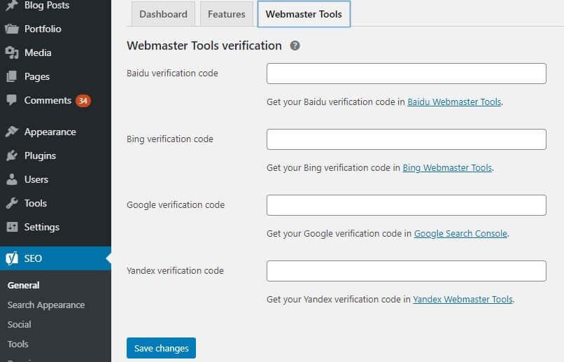 Yoast SEO Webmaster Verification Screen